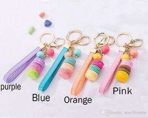 Kreative Macarons Kuchen Keychain Fashion Ribbon Schlüsselanhänger Auto Schlüsselanhänger Frauen Tasche Handtasche Handtasche Charm Anhänger Trinket Weihnachtsgeschenk D334SF
