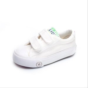 Çocuk küçük beyaz ayakkabılar yaz beyaz kanvas ayakkabılar düşük sihirli oyunlar sihirli çıkartmalar beyaz bez ayakkabı boyutu 18-37