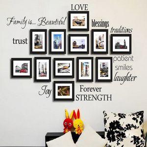 12 aile kelimeler duvar dekor Vinil Duvar Etiketler Resim Çerçevesi Aile Duvar Çıkartmaları Odası Sanat Dekorasyon siyah Seti
