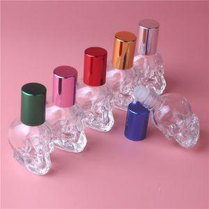 8 мл 6color форма черепа мини маленький пустой стеклянный рулон на флакон духов стеклянная бутылка образца с алюминиевой крышкой металлический рулон мяч