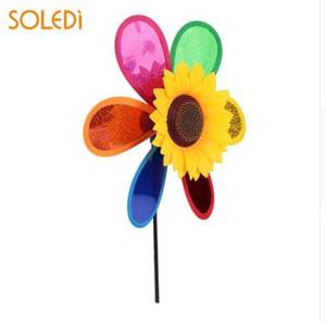 Color Random Plastic Yard Girasol Windmill 3D Decoración Pinwheel Colorido césped Wind Spinner Whirligig