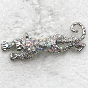 12 unids / lote Al Por Mayor Crystal Rhinestone Leopard Broches Moda Traje Broche Colgante de regalo de la joyería C514