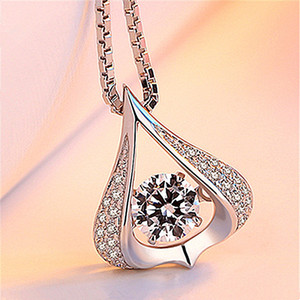 Japanese and Korean new dynamic heart-shaped water drop pendant silver necklace female clavicle chain simple jewelry factory direct selling