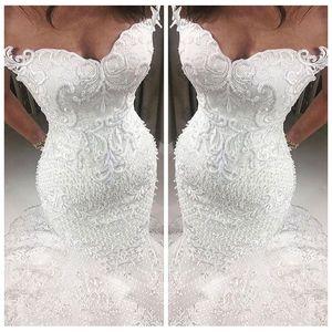 Beautiful Slim Sweetheart Lace Appliques Mermaid Wedding Dresses Beaded Custom Bridal Gowns Petite Ladies Wedding Wear Cheap