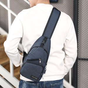 Мужчины USB зарядное устройство груди мешок один слинг большой емкости сумки на ремне Crossbody Оксфорд рюкзак творческая функция дизайнер 17bg ZZ