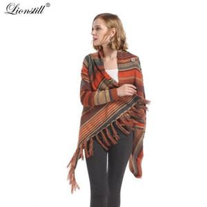lionstill 2018 autunno donne maglione lavorato a maglia donne moda striscia Nappa sciarpa collo caldo maglione lavorato a maglia signora tideway cardigan