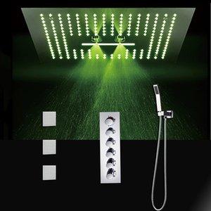LED 샤워 꼭지 세트 400x400mm 다기능 샤워 헤드 물 큰 비 샤워 / 자동 온도 조절기 높은 흐름 믹서 세트