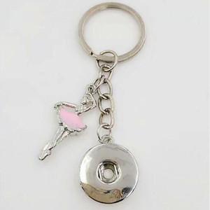 Emaye Dans Kız / Balerin 18mm Snaps Düğme Anahtarlık Charm Anahtarlık Tuşları Araba Anahtarlık Hatıra Çift Çanta Anahtarlık-45