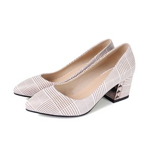 Fashion Womens Pinstripe Square heel Pointed Toe Shoes Ladies Casual Sandals Pumps S651 US UK EUR Size Customized