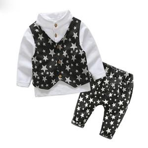 2017 printemps bébé garçon gentleman costume chemise + salopettes 2 pcs manches longues T-shirt garçons pantalons enfants vêtements enfants vêtements ensemble