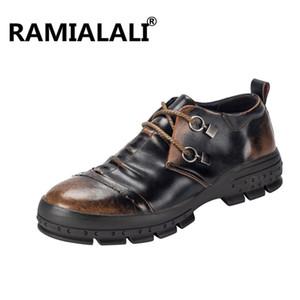 Ramialali Outono Inverno Botas de Neve de Couro Genuíno Retro Homens Botas Confortáveis Sapatos Casuais Estilo Britânico Sapatos de Homens Do Vintage