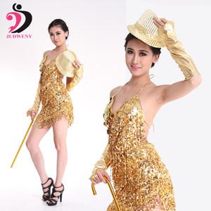 Latin Dance Dress Women Tassel Costumes Gold Silver Green Red Latin for Performance Shiny Dancing Uniform No Hat Stick