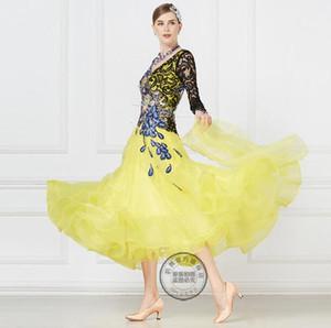 Ballroom Dance Competition Abiti Donna / Abiti da ballo / Ballroom Abiti da valzer / Ballroom Dancing giallo nero 17221