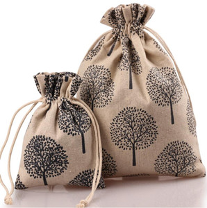 Free Ship 50pcs 10*13cm 13*18cm 17*23cm Printed Countryside Linen Bag Sack Jewelry Earrings Necklace Bags Wedding Party Candy Beads Gift Bag