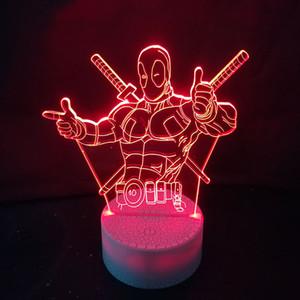 Noche Tabla 3D Iron Man Modelado de la lámpara del sueño del bebé de iluminación LED de luz de noche Usb habitación de los niños regalos de la decoración de Navidad