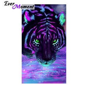 Atacado diy diamante pintura ponto cruz colorido tigre água potável diamante bordado parede retrato artesanato asf995