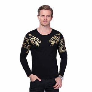 T-Shirt da uomo autunno-alta di marca di alta fine T-Shirt moda sottile drago stampa atmosfera maglietta più t-shirt in spandex a maniche lunghe