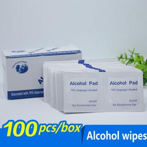 100pcs / lot alcol Prep Swap Pad Wet Wipe per antisettico della pelle di pulizia dei monili Cura del telefono mobile Clean