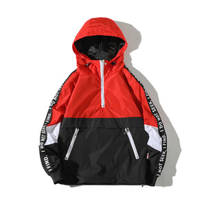 2018 Spring Casual Kangaroo Pocket Zipper Hat Loose Letter Coat Leisure Male Jacket Clothes Student Sweatshirts Men Hoodies