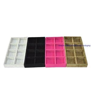 Wholesale Bandeja portátil de terciopelo Tray Box Tray Bandeja Mostrar Lindo Bead Almacenamiento Joyería Pendiente Pequeño Soporte Soporte Soporte Almacenamiento Organizar Pvjo