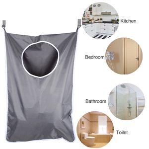 Laundry Nook Door-Hanging Laundry Hamper 2 PCS 스테인레스 스틸 후크 및 흡입 컵 Dark Gray Space Saving