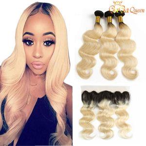 1b 613 Ombre onda del cuerpo humano cabello con 4x13 de cierre 3 haces de extensiones de cabello onda del cuerpo humanos frontales con frontal del cordón rubia