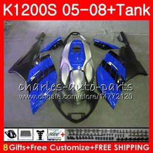 Carrocería para BMW K-1200S K 1200 S 05 10 K1200 S 05 06 07 08 09 10 103HM.45 K 1200S K1200S 2005 2006 2007 2008 2009 2010 azul negro Carenado Kit