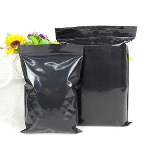 Leotrusting 100pcs Black Plastic Ziplock Bag Black Sunproof Zip Packaging Bag PE Plastic Resealable Gift Bags