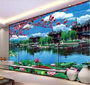 3d обои на заказ фото китайский сад озеро Лотос декорации цветок ТВ фон стены гостиной 3d стены muals обои для стен 3 d