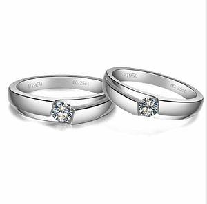 All'ingrosso 0.5Ct Classico Anelli Solitaire Lovers Gioielli in argento sterling bianco oro colore paio anello sintetico diamanti anello