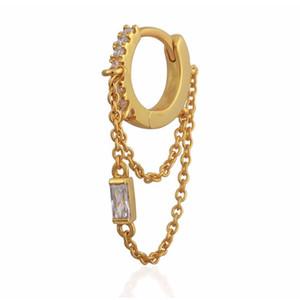 chaîne de gland boucle d'oreille avec cz mini cerceau plaqué or mode européen femmes dames magnifique mode tendance boucles d'oreilles bijoux