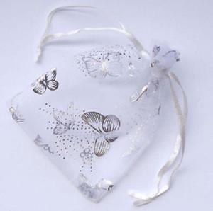 20x30cm 100 Stück weißer Schmetterling Organza Hochzeit Schmuck-Geschenk-Beutel 70x90 mm Organza Hochzeit Geschenk Schmuck Tasche Pouches
