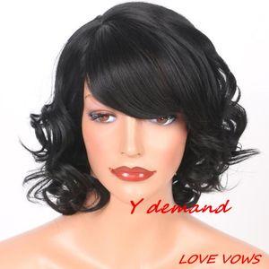Parrucca classica del punto parrucche sintetiche nere della parrucca del punto per le donne in parrucca della celebrità della fibra ad alta temperatura delle azione all'ingrosso