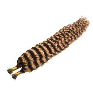 """Бразильские глубокие вьющиеся волосы Pre Bonded I / Кончик ногтя наращивание волос Keratin available100s / bag Кератиновое наращивание волос Capsule100G 10 """"24"""""""