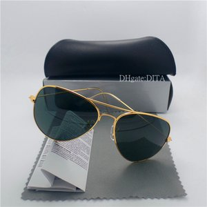 Lente de vidrio de alta calidad Marcas Gafas de sol Hombres Mujeres Marco de metal 58 MM 62 MM Tendencias Vintage Eyewear Flat 10 Color Mirror UV400 Casos de piloto Caja
