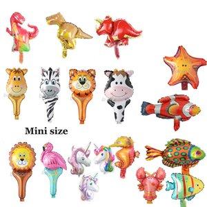 Mini Animal Foil globos fiesta de cumpleaños decoraciones niños océano bolas de pescado juguetes inflables Baby Shower Animal Party bolas 50 unids / lote