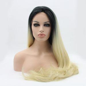 Blonde Ombre peluca sintética para las mujeres sin cola Negro Para rubia Dos Tonos Ombre sintética del frente del cordón de calor fibra resistente de pelo recto