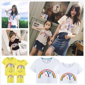Ins Hot 15 Cores Rainbow Pony Unicórnio Dos Desenhos Animados Impresso de Manga Curta T-shirt de Verão Nova Família Roupas Combinando Mamãe Caçoa a Família Pai roupas