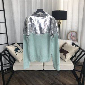 Free Sequins 827781 Shipping Aqua Patchwork 2021 Sequins Sweaters Womens Pullovers Green Women's Blingbling Designer Ucgfm