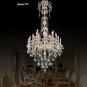 إضاءة الكريستال مصباح القراءات درج الصمام أضواء الثريا تركيبات طويلة ضوء اللوبي