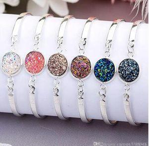 Gioielli vintage braccialetto naturale Geode Pietra Silver Gold Bangles d'amore per monili delle donne del partito di accessori da sposa