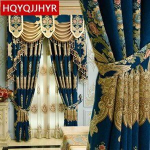 European top dark Blue / Beige Jacquard Blackout Curtains for the Living Room High quality villa floor Curtain for Bedrooms