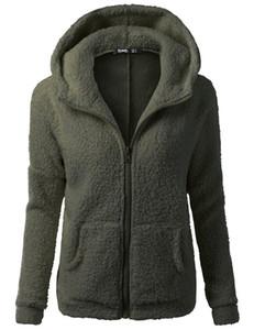 Les femmes en gros dernier style manteau occasionnel à manches longues à glissière poche avant pull à capuche velours veste chaude hoodie veste vente chaude