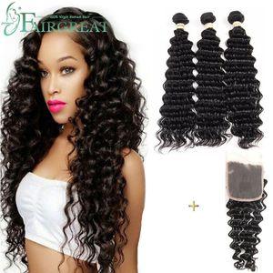 Deep Wave Brazilian Human Hair Weaves 100% Unprocessed Human Hair Extensions 3 Bundles with Lace Closure Hair Weave Bundles Wholesale price