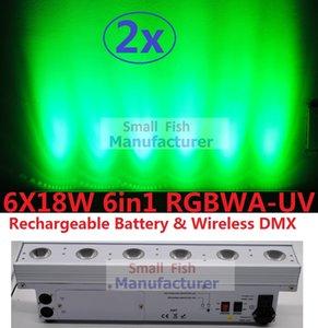 2xLot Led Wall Wash Light Beam Bar Line Washer Wall Stage Lights 6x18W RGBWA + UV Inalámbrico Dmx recargable Batería Efecto de inundación