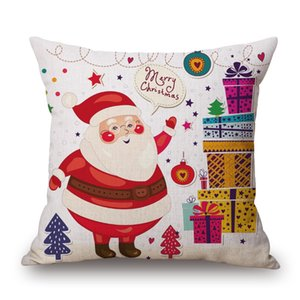 Merry Christmas Custom Cushion Covers Santa Claus Throw Pillow Case Deer Candy Color Decorative Pillows Covers Gift