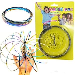 Toroflux Rainbow Flow Anéis de Aço Inoxidável Cinética Primavera Metal SUS 304 Anel de Fluxo Mágico 3D Anel de Escultura Interativo Brinquedos Para Crianças ELC762