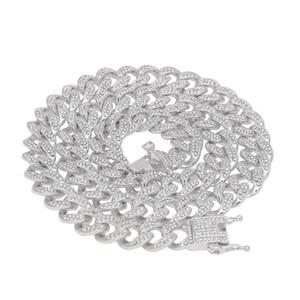 Hip Hop Dışarı Buzlu Bling 13mm 16-24 inç Küba Link Zinciri Kolye Altın Gümüş Takı Erkekler için