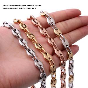 Нержавеющая сталь 316L унисекс мода ссылка ожерелье высокой полированной мужские и женские хип-хоп панк кнопки цепи 4 цвета