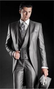 Groom Porter Groomsmen Un bouton marié matin style crête hommes Lapel Costumes de mariage / robe de bal / dîner Best Man Blazer (veste + pantalon + cravate + Gilet)